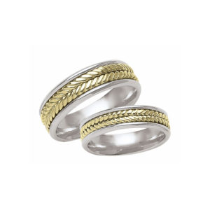 IMAGE OF 21-2140 WEDDING BANDS_ HIS AND HERS MATCHING RINGS TWO TONE HAND FINISHED