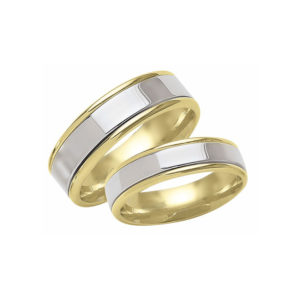 IMAGE OF 21-2141 WEDDING BANDS_ HIS AND HERS MATCHING RINGS TWO TONE HAND FINISHED HIGH POLISHED