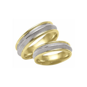 IMAGE OF 21-2142 WEDDING BANDS_ HIS AND HERS MATCHING RINGS TWO TONE HAND FINISHED HIGH POLISHED