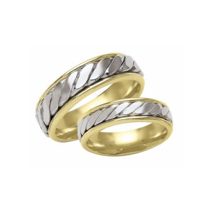 image of 21-2143 WEDDING BANDS_ HIS AND HERS MATCHING RINGS TWO TONE HAND FINISHED HIGH POLISHED