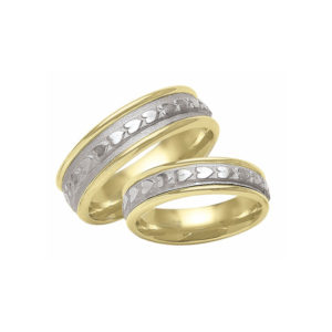 IMAGE OF 21-2144 WEDDING BANDS_ HIS AND HERS MATCHING RINGS TWO TONE HAND FINISHED HIGH POLISHED