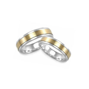 IMAGE OF 21-2146 WEDDING BANDS_ HIS AND HERS MATCHING RINGS TWO TONE HAND FINISHED HIGH POLISHED