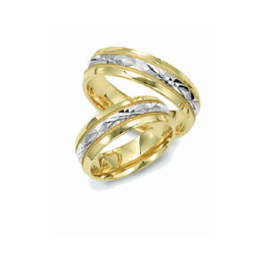 IMAGE OF 21-2147 A WEDDING BANDS_ HIS AND HERS MATCHING RINGS 6MM WIDE TWO TONE DIAMOND CUT DESIGN HIGH POLISHED