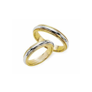 IMAGE OF 21-2147 WEDDING BANDS_ HIS AND HERS MATCHING RINGS 3MM WIDE TWO TONE HAND FINISHED HIGH POLISHED