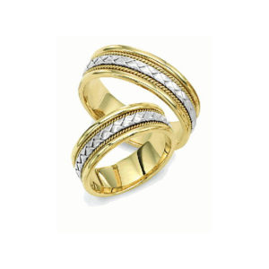 IMAGE OF 21-2151 WEDDING BANDS_ HIS AND HERS MATCHING RINGS 6MM WIDE TWO TONE HAND CRAFTED HIGH POLISHED