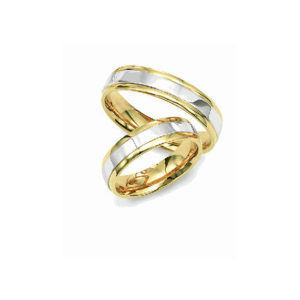 image of 21-2152 WEDDING BANDS_ HIS AND HERS MATCHING RINGS 6MM WIDE TWO TONE HAND FINISHED HIGH POLISHED