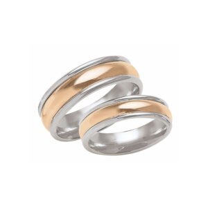 IMAGE OF 21-2167 WEDDING BANDS_ HIS AND HERS MATCHING RINGS 6MM WIDE TWO TONE ROSE GOLD CENTER HAND FINISHED HIGH POLISHED
