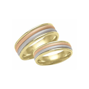 IMAGE OF 21-2168 WEDDING BANDS_ HIS AND HERS MATCHING RINGS 6MM WIDE TRI-COLOR GOLD, HAND FINISHED HIGH POLISHED INSIDE RINGS