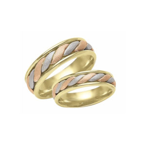 IMAGE OF 21-2169 WEDDING BANDS_ HIS AND HERS MATCHING RINGS 6MM WIDE TRI-COLOR GOLD HAND FINISHED HIGH POLISHED INSIDE RINGS