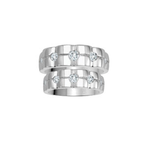 image of 21-2173 WEDDING BANDS_ WHITE GOLD HIS AND HERS MATCHING RINGS WITH DIAMONDS