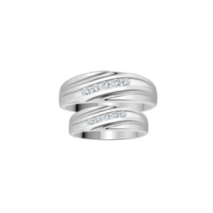 IMAGE OF 21-2174 WEDDING BANDS_ WHITE GOLD HIS AND HERS MATCHING RINGS WITH DIAMONDS