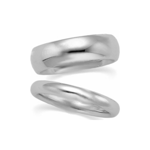 21-2178 WEDDING BANDS_ HIS AND HERS MATCHING RINGS 6MM WIDE MANS AND 3.5MM WIDE LADIES HAND FINISHED HIGH POLISHED