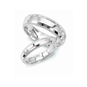 IMAGE OF 21-2180 WEDDING BANDS_ HIS AND HERS MATCHING RINGS 6MM WIDE MANS AND 3.5MM WIDE LADIES HAND FINISHED HIGH POLISHED