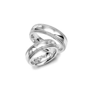 image of 21-2182 WEDDING BANDS_ HIS AND HERS MATCHING RINGS 6MM WIDE HAND FINISHED HIGH POLISHED
