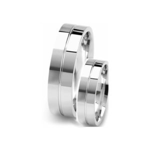 image of 21-2183 WEDDING BANDS_ HIS AND HERS MATCHING RINGS 6MM WIDE HAND FINISHED HIGH POLISHED