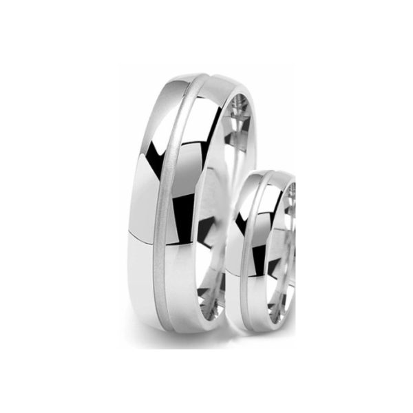 image of 21-2184 WEDDING BANDS_ HIS AND HERS MATCHING RINGS 6MM WIDE HIGH POLISHED