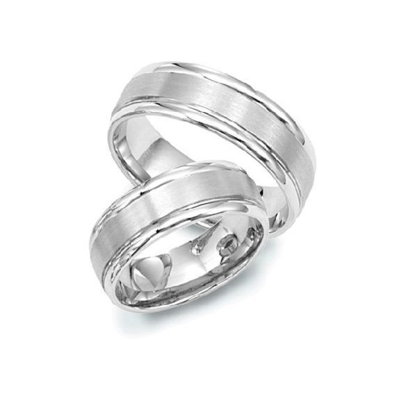 IMAGE OF 21-2191 WEDDING BANDS_ HIS AND HERS MATCHING RINGS 6MM WIDE WHITE GOLD SATIN FINISHED TOP HIGH POLISHED