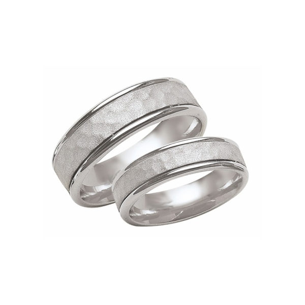 IMAGE OF 21-2192 WEDDING BANDS_ HIS AND HERS MATCHING RINGS 6MM WIDE WHITE GOLD SATIN FINISHED TOP HIGH POLISHED