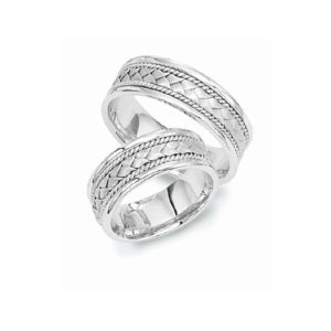 image of 21-2193 WEDDING BANDS_ HIS AND HERS MATCHING RINGS 6MM WIDE WHITE GOLD SATIN FINISHED TOP HIGH POLISHED