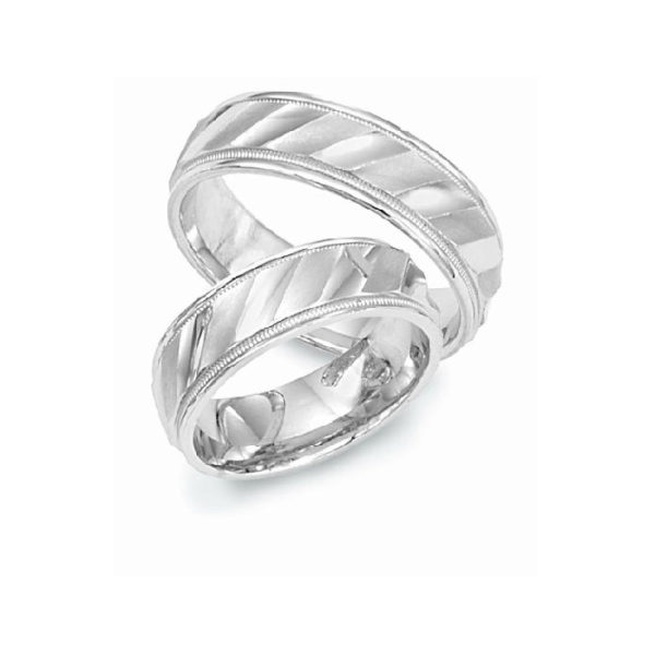image of 21-2194 WEDDING BANDS_ HIS AND HERS MATCHING RINGS 6MM WIDE WHITE GOLD SATIN FINISHED TOP HIGH POLISHED