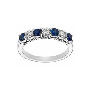 IMAGE OF 21-B200 LADIES STONE RINGS_BLUE SAPPHIRES AND DIAMOND BAND