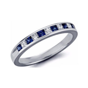 IMAGE OF 21-B338 LADIES STONE RINGS_BLUE SAPPHIRES AND DIAMOND BAND