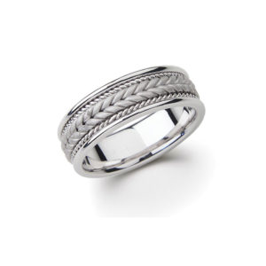 IMAGE OF 21-W852 WEDDING BANDS_WHITE GOLD SPECIAL DESIGN HAND MADE COMFORTFIT
