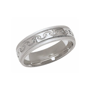 IMAGE OF 21-W887 WEDDING BANDS_WHITE GOLD SPECIAL DESIGN COMFORT FIT