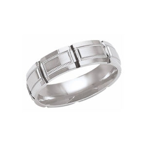 IMAGE OF 21-W889 WEDDING BANDS_WHITE GOLD SPECIAL DESIGN COMFORT FIT