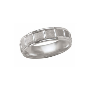 IMAGE OF 21-W890 WEDDING BANDS_WHITE GOLD SPECIAL DESIGN COMFORT FIT
