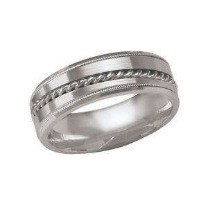 IMAGE OF 21-W894 WEDDING BANDS_WHITE GOLD SPECIAL DESIGN COMFORT FIT 7MM WIDE