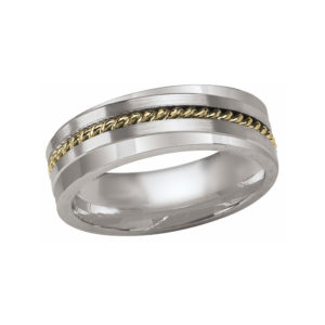 IMAGE OF 21-W895 WEDDING BANDS_WHITE GOLD SPECIAL DESIGN COMFORT FIT 7MM WIDE