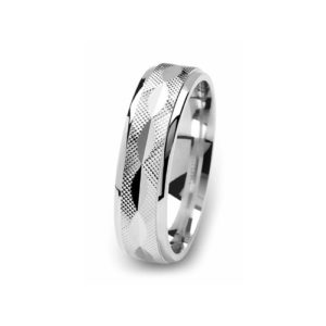 image of 21-W903 WEDDING BANDS_WHITE GOLD SPECIAL DESIGN DIAMOND CUT COMFORT FIT