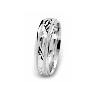 21-W905 WEDDING BANDS_WHITE GOLD SPECIAL DESIGN DIAMOND CUT COMFORT FIT