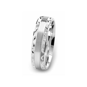 image of 21-W906 WEDDING BANDS_WHITE GOLD SPECIAL DESIGN DIAMOND CUT COMFORT FIT
