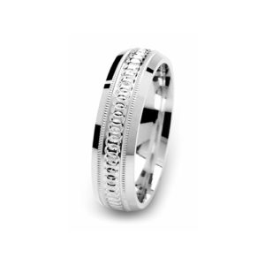 image of 21-W907 WEDDING BANDS_WHITE GOLD SPECIAL DESIGN DIAMOND CUT COMFORT FIT