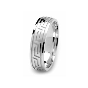 image of 21-W908 WEDDING BANDS_WHITE GOLD SPECIAL DESIGN DIAMOND CUT COMFORT FIT