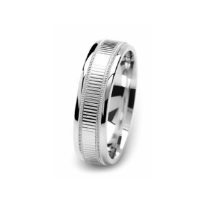 image of 21-W909 WEDDING BANDS_WHITE GOLD SPECIAL DESIGN DIAMOND CUT COMFORT FIT