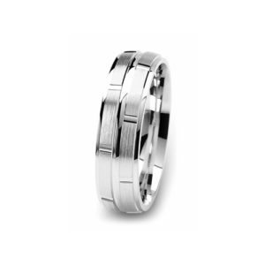 image of 21-W911 WEDDING BANDS_WHITE GOLD SPECIAL DESIGN DIAMOND CUT COMFORT FIT