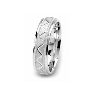 image of 21-W913 WEDDING BANDS_WHITE GOLD SPECIAL DESIGN DIAMOND CUT COMFORT FIT