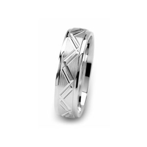 image of 21-W914 WEDDING BANDS_WHITE GOLD SPECIAL DESIGN DIAMOND CUT COMFORT FIT