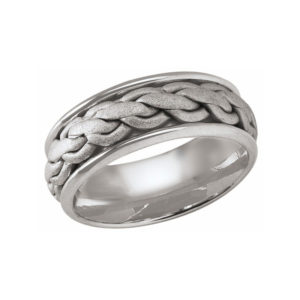 image of 21-W918 WEDDING BANDS_WHITE GOLD SPECIAL DESIGN HAND MADE COMFORT FIT 8MM WIDE