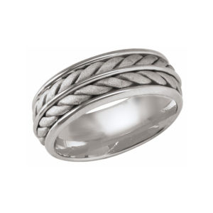 image of 21-W919 WEDDING BANDS_WHITE GOLD SPECIAL DESIGN HAND MADE COMFORT FIT 8MM WIDE