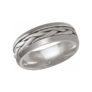 image of 21-W920 WEDDING BANDS_WHITE GOLD SPECIAL DESIGN HAND MADE COMFORT FIT 8MM WIDE