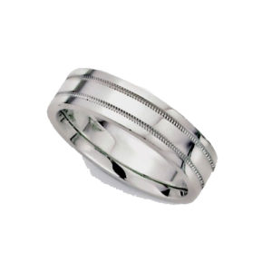 image of 21-W921 WEDDING BANDS_WHITE GOLD SPECIAL DESIGN COMFORT FIT_6MM
