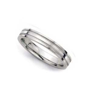 image of 21-W923 WEDDING BANDS_WHITE GOLD SPECIAL DESIGN COMFORT FIT_4MM WIDE