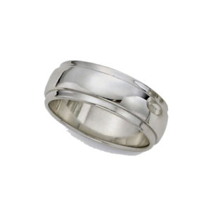 IMAGE OF 21-W928 WEDDING BANDS_WHITE GOLD SPECIAL DESIGN COMFORT FIT-8MM WIDE