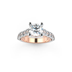 IMAGE OF 31-6417 ENGAGEMENT RING WITH SIDE STONES_ONE CARAT CENTER DIAMOND UNIQUE STYLE