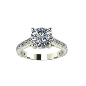 IMAGE OF 31-6418 ENGAGEMENT RING WITH SIDE STONES_ONE CARAT CENTER DIAMOND UNIQUE STYLE