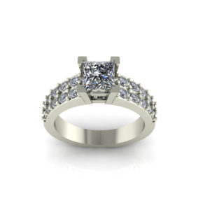 IMAGE OF 31-7015 ENGAGEMENT RINGS_PRINCESS CUT CENTRE DIAMOND WITH ROUND SIDE STONES